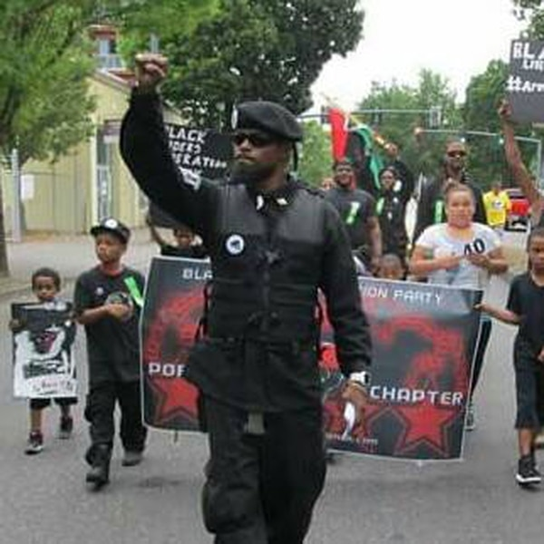 A Black Riders Liberation Party marcher (Courtesy of the Southern Poverty Law Center)