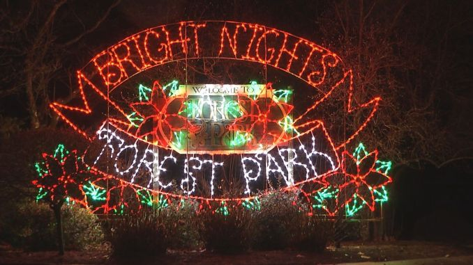 Families enjoy Bright Nights at Forest Park on Christmas