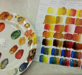 Acrylic Paint Palette and colour chart from WWPC Acrylic Painting Classes 2017