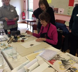 chinese brush painting with maggie cross for WWPC members