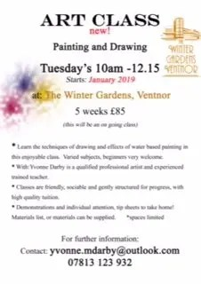 art classes at Ventnor Winter Gardens with Yvonne Darby
