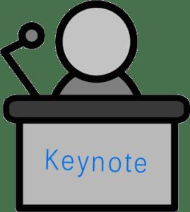 drawing of someone at a podium