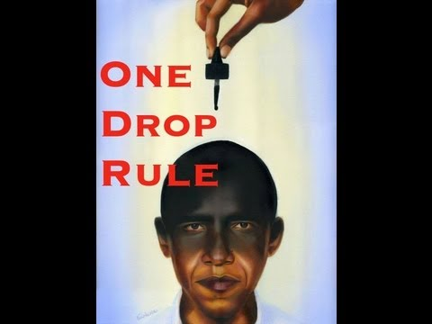 colorism. picture of Oboma with someone dropping black ink unto him and it says...one drop rule