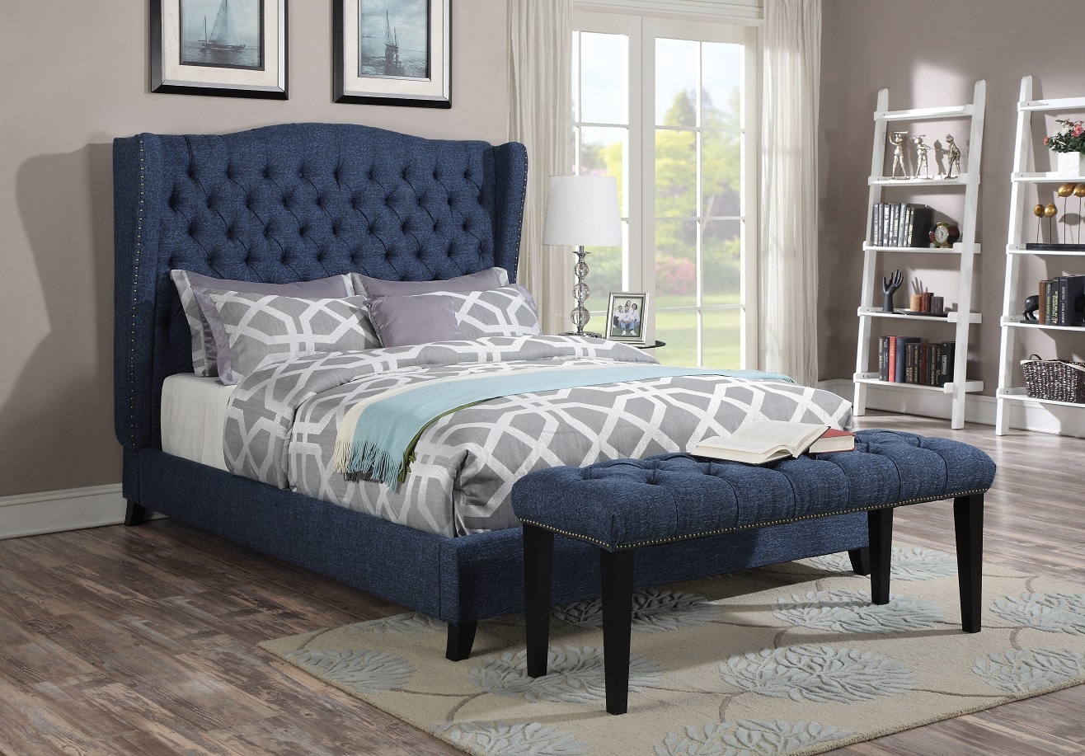 Acme Furniture 20877 Blue Linen Wingback Tufted Nailhead