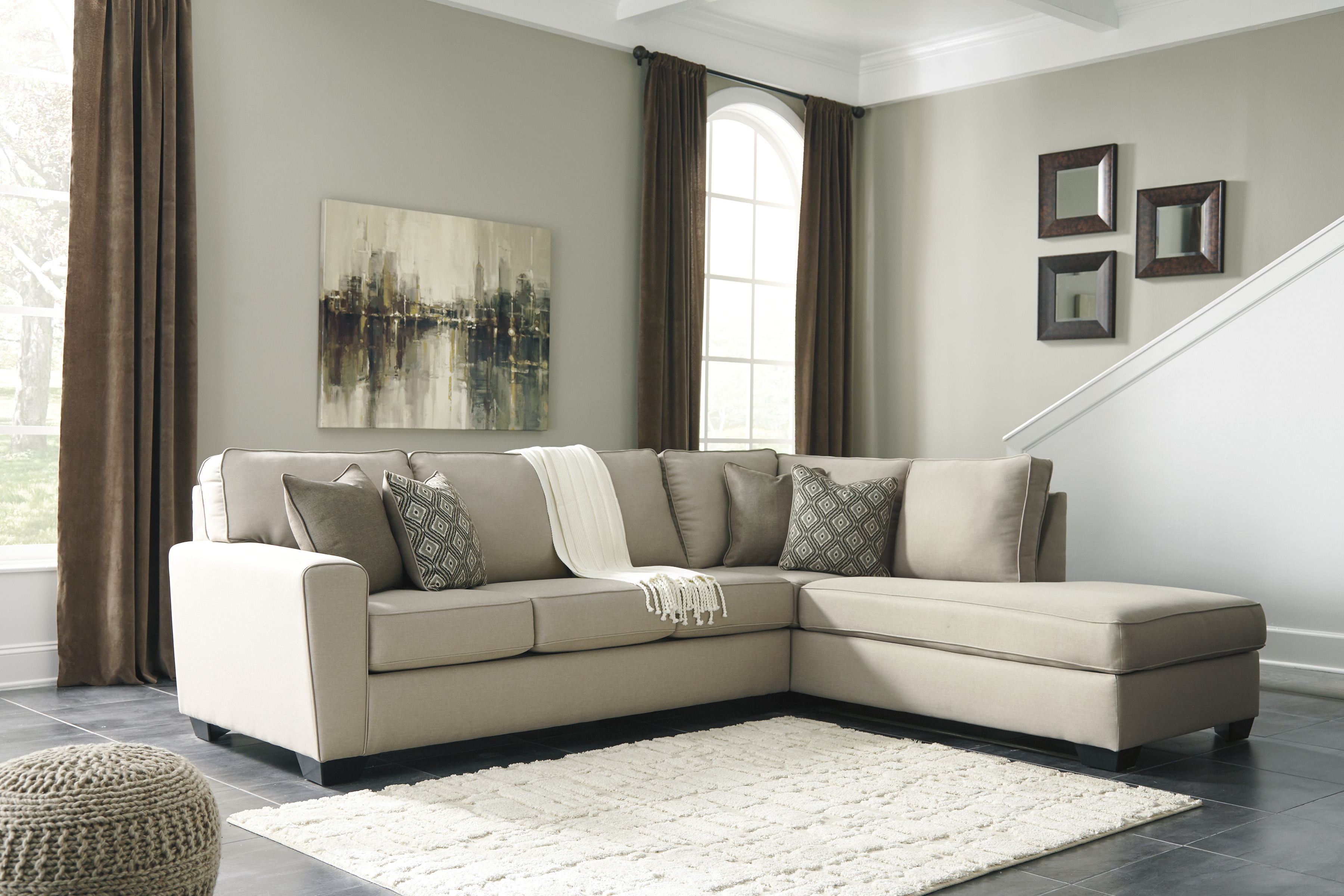 calicho charcoal sectional by ashley 91202 17 wide tapered arms gray fabric contemporary style