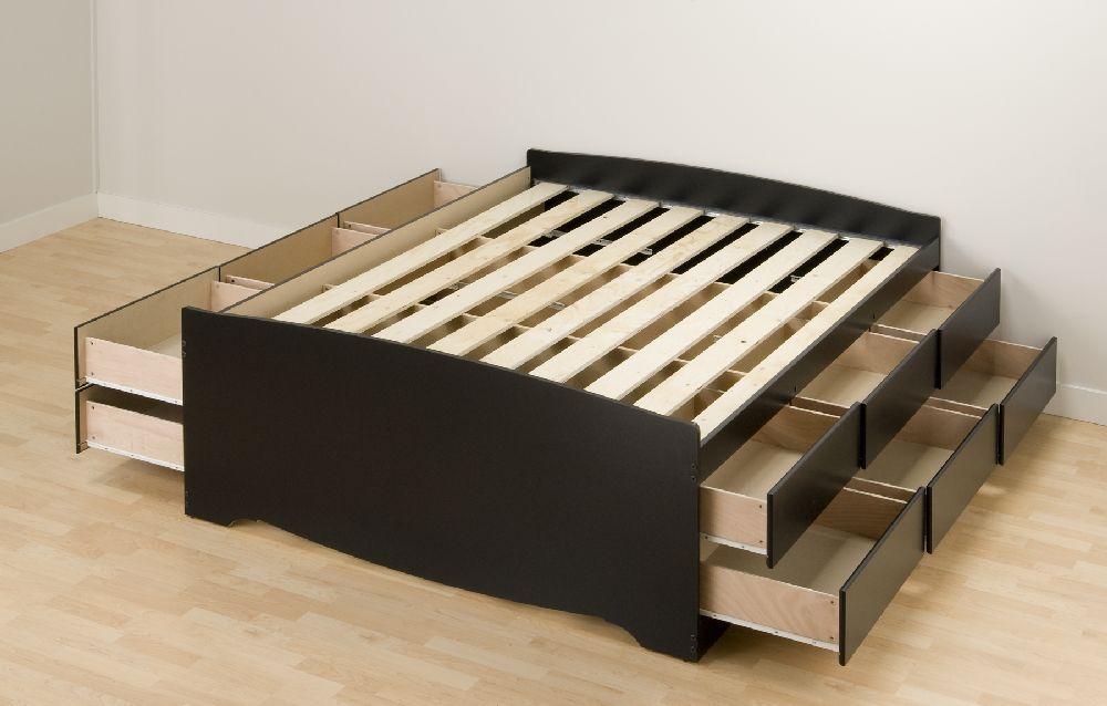 Prepac Black Tall Queen Platform Storage Bed 12 Drawers