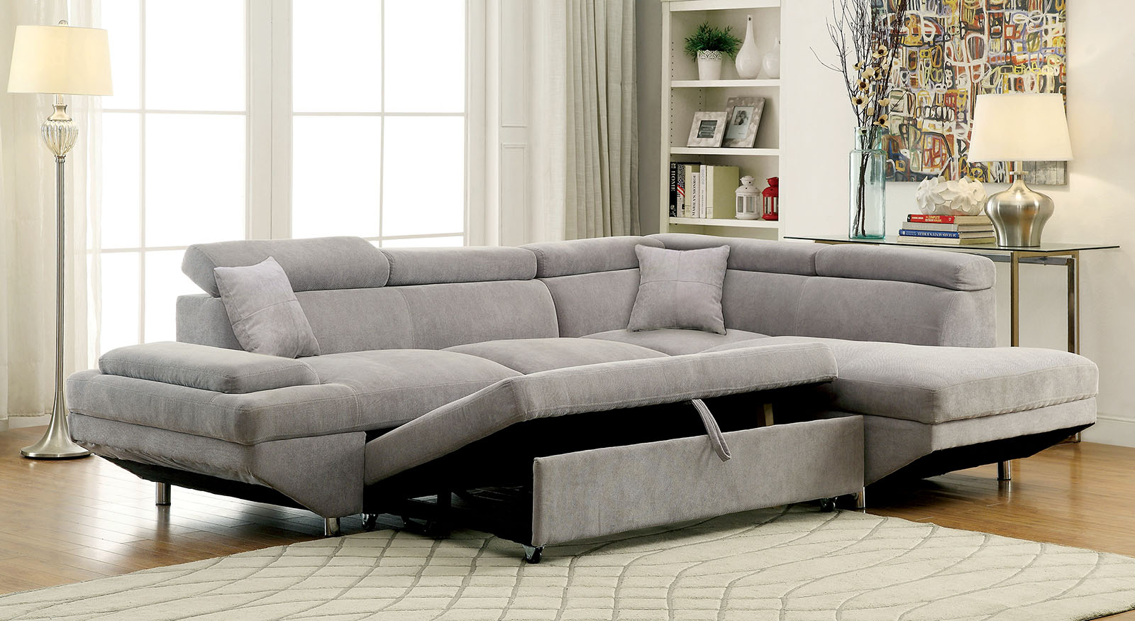 foreman 6124gy gray sleeper sectional with chaise