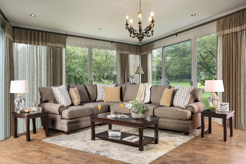 augustina light brown fabric sectional sm5165 by furniture of america