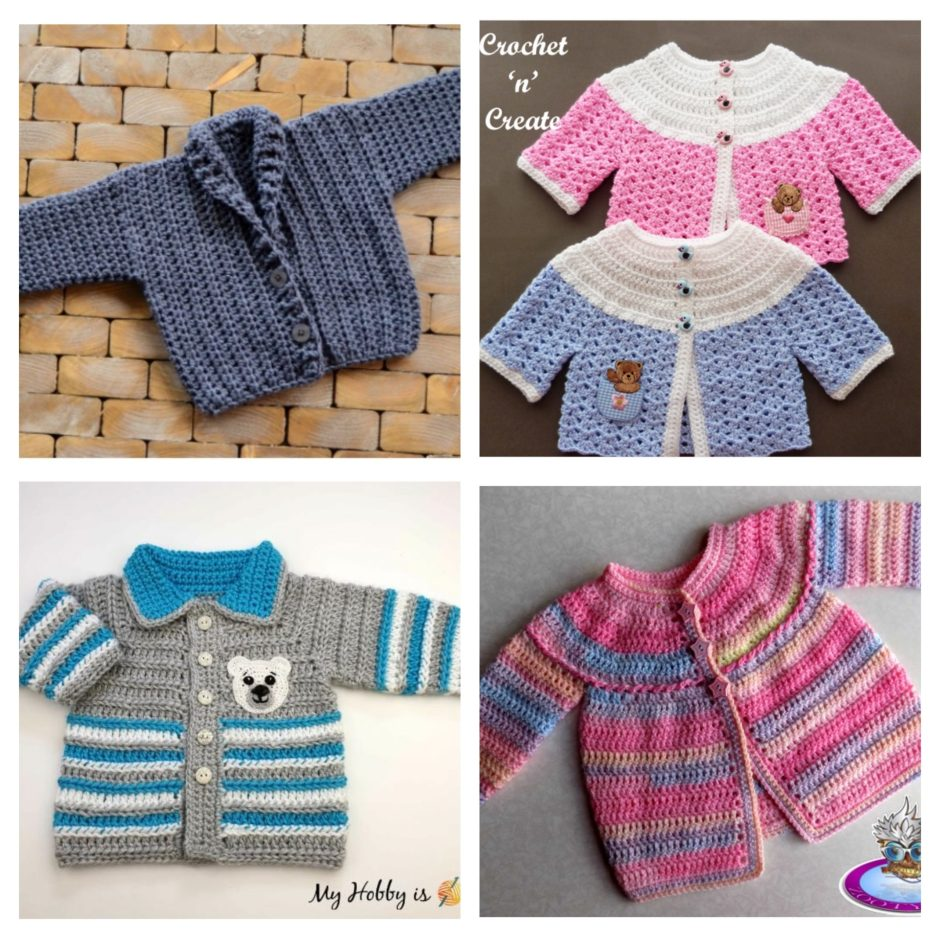 Collage Of Crochet Baby Cardigns
