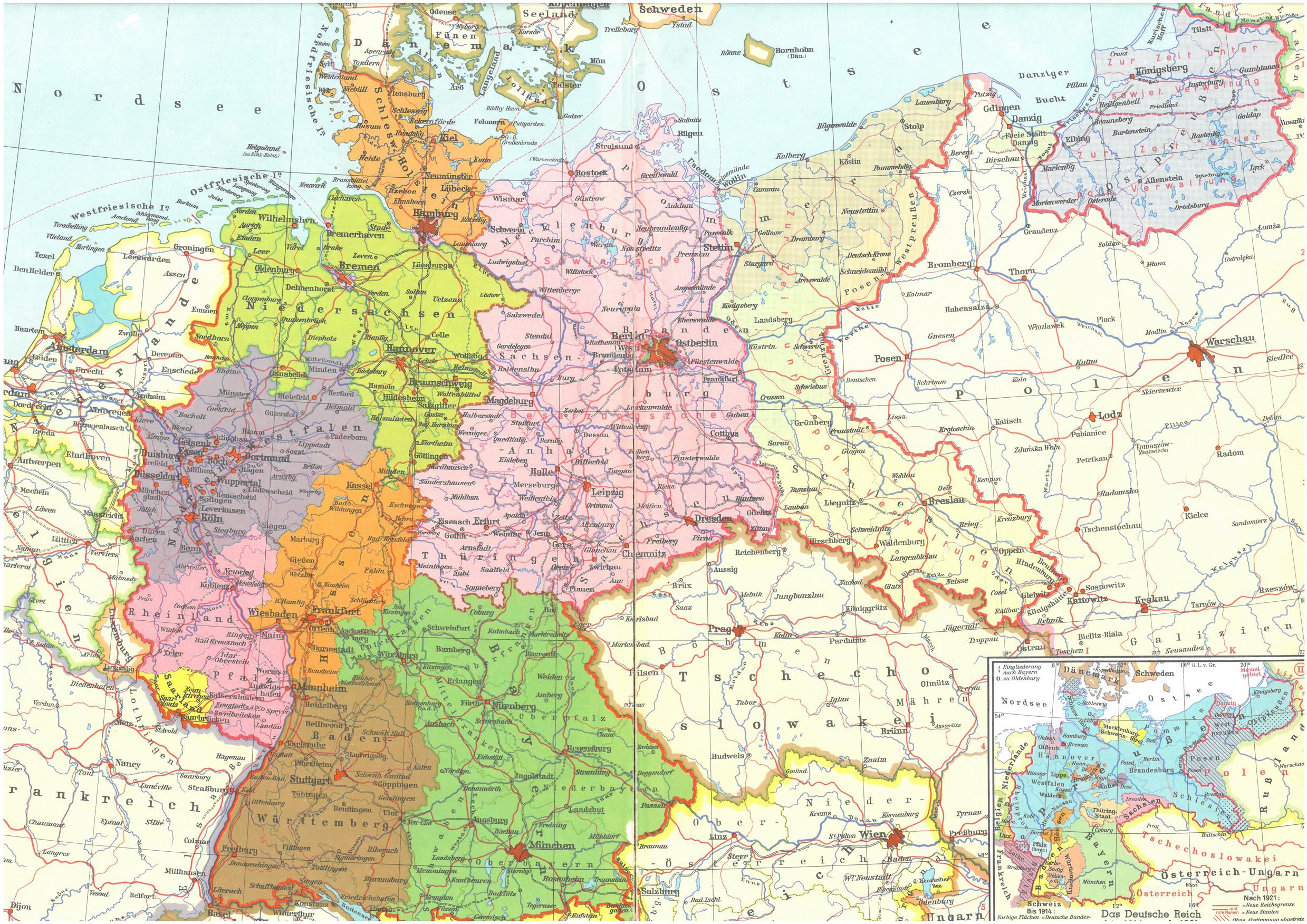 Map Of Germany 1980.Map Germany 1980 West