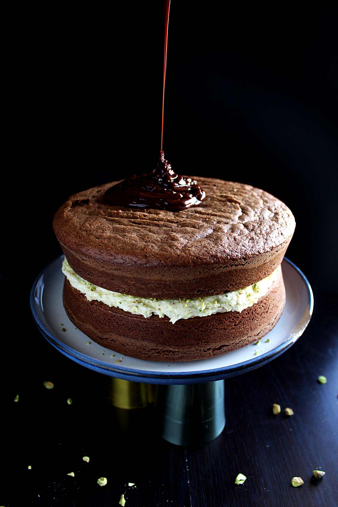 Chocolate Orange Cake with Pistachio Mascarpone Filling and ...
