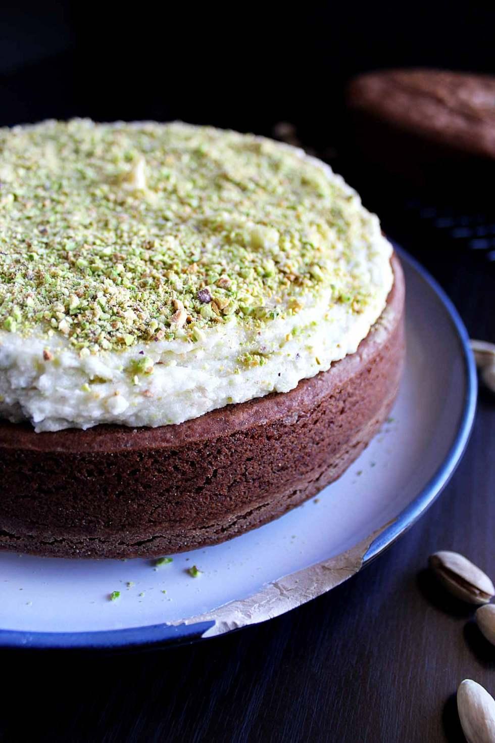 chocolate orange cake   pistachio mascarpone filling   chocolate ganache   fudgey cake   pistachio frosting