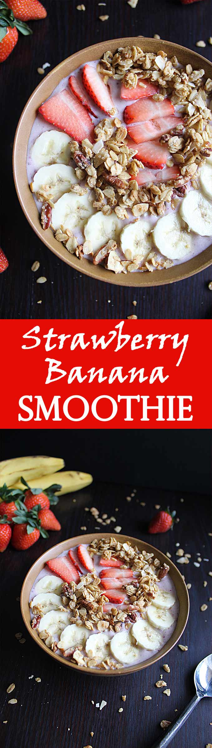 Healthy Strawberry Banana Smoothie Bowl | Protein Smoothie | Without Yogurt | Low Calorie | Breakfast | Post Workout | Recipe