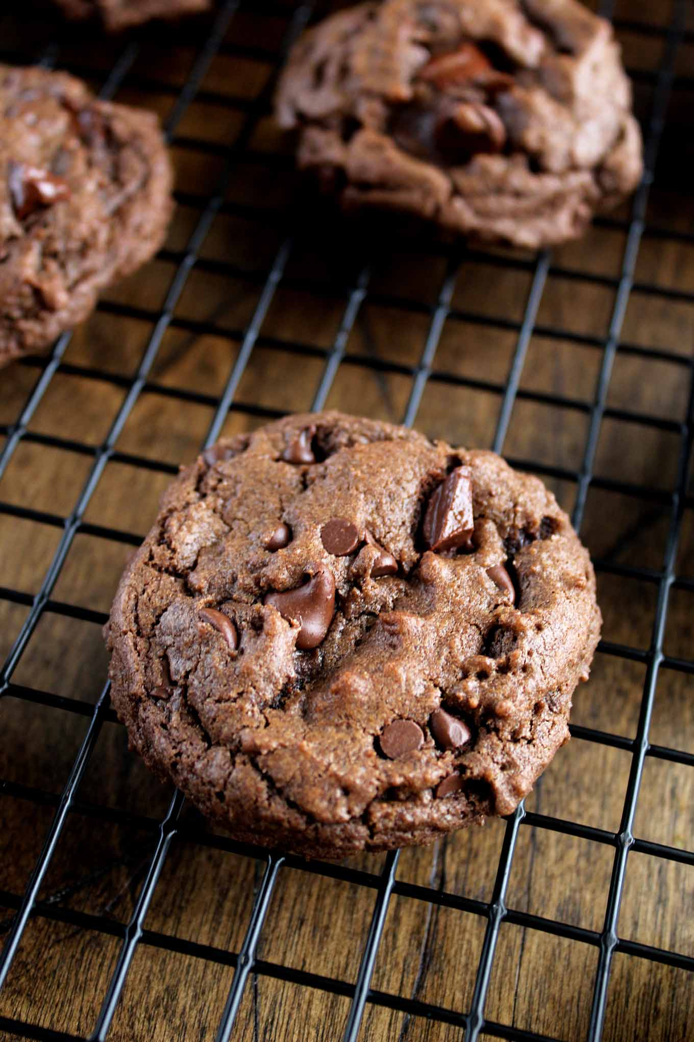 Fudgey Chocolate Chocolate Chip Cookies | wyldflour