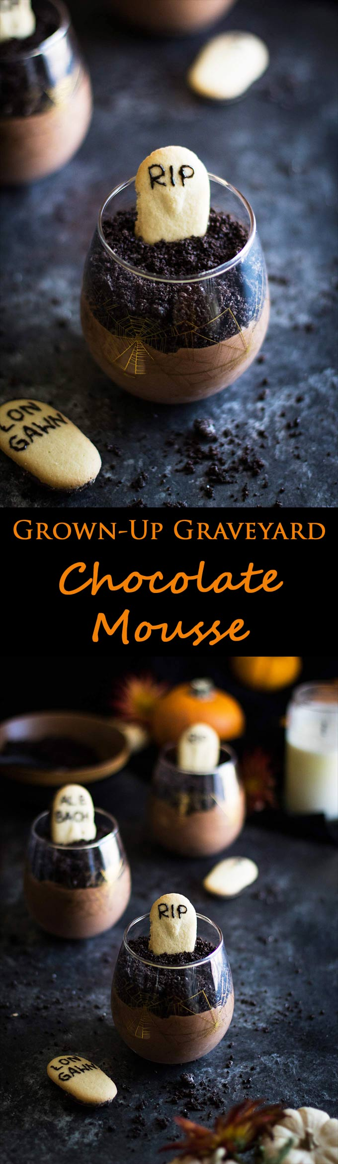 This graveyard chocolate mousse is sinfully rich, topped with oreo cookies, and quick and easy! Whip it up in less than 15 minutes for the perfect Halloween dessert!