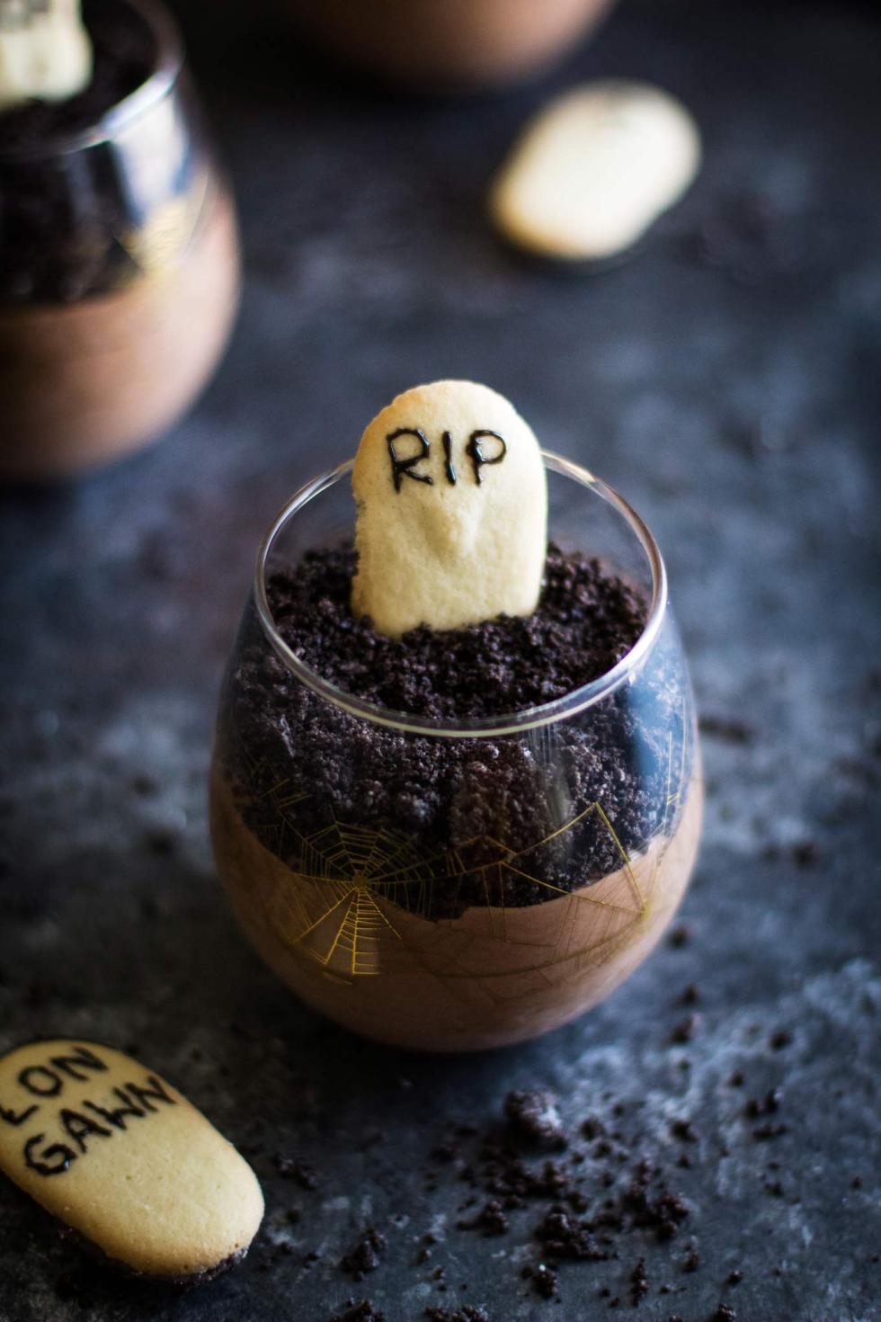 This graveyard chocolate mousse is sinfully rich, quick, and easy! Whip it up in less than 15 minutes for the perfect Halloween dessert!