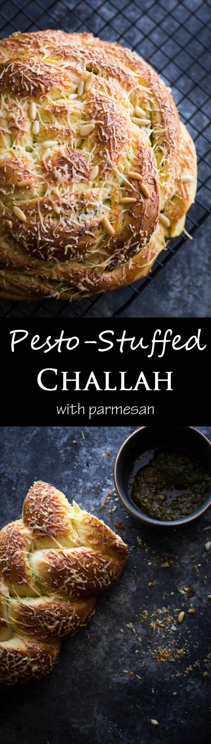 Pesto Challah - this soft bread is so easy to make, with swirls of pesto and toasted parmesan!