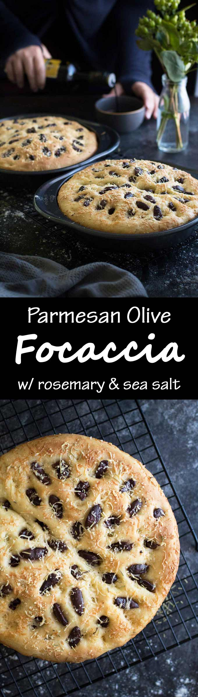 Parmesan Olive Focaccia | Rosemary | Sea Salt | Easy Bread