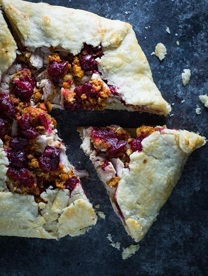 What to do with thanksgiving leftovers? This galette recipe layers turkey, stuffing, and cranberry sauce in a flaky pie crust!