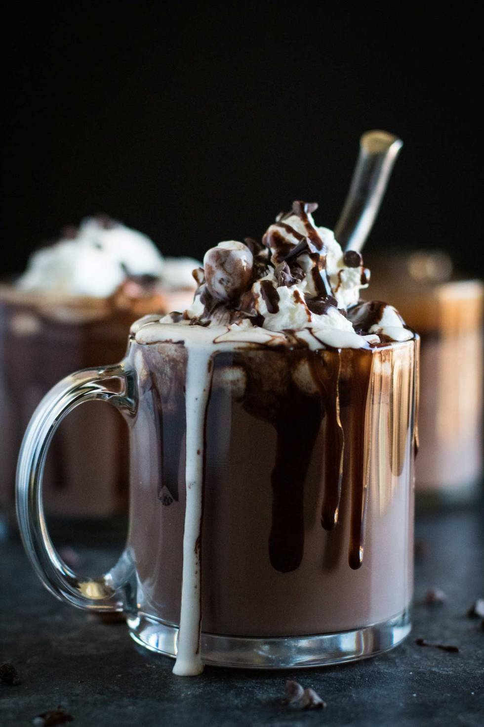 The best recipe for thick and creamy hot chocolate! Extra rich and made with cocoa powder and chopped chocolate. Don't forget to load it up with whipped cream!