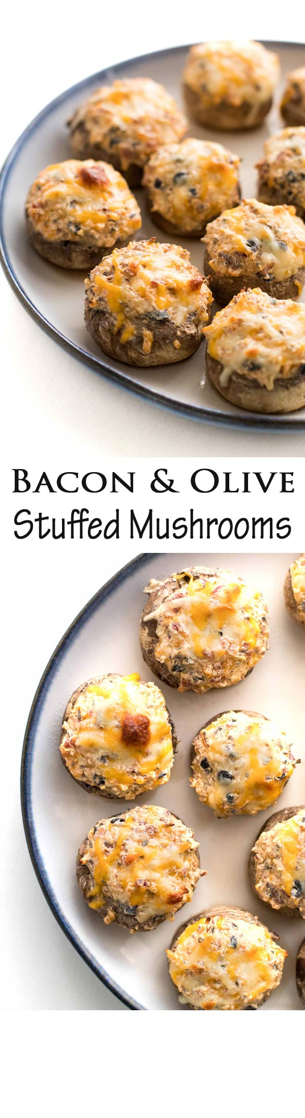 These roasted mushrooms are stuffed with a tasty mixture of bacon, olives, and cheese. The perfect appetizers for parties and BBQs!