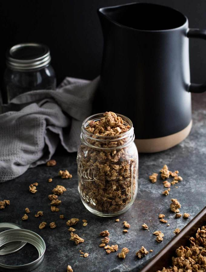 Crunchy chai spiced granola filled with oats, almonds, and pecans! Lightly sweetened with maple syrup and refined sugar free! (Gluten-free option too!)