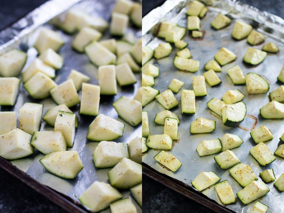 Side-by-side photos of fresh cucumber and roasted cucumber on a sheet pan