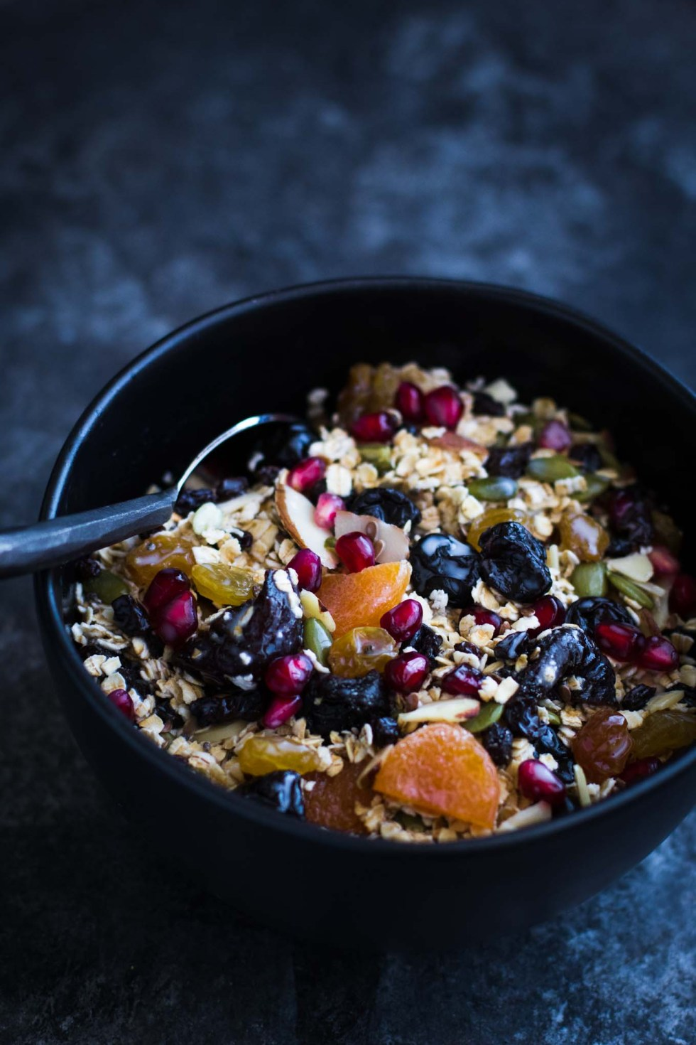 Homemade muesli filled with superfoods! This healthy breakfast is stuffed full of antioxidants, omegas, and deliciousness! Gluten-free, vegan, and vegetarian friendly!