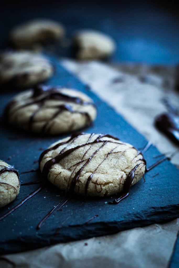 A peanut butter cookie drizzled with semi-sweet chocolate