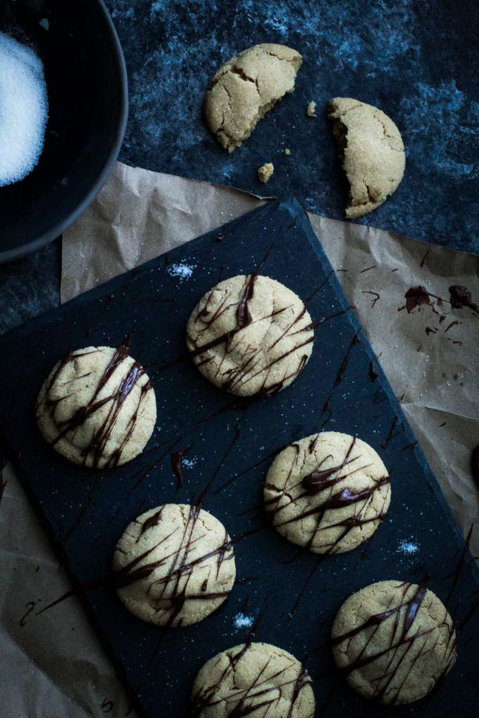 Peanut butter cookies drizzled in chocolate