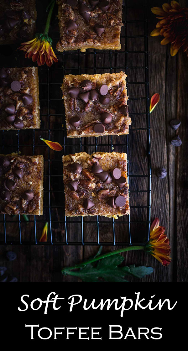 Soft Pumpkin Pecan Toffee Bars topped with chocolate chips! | Easy Recipes | Dessert | Pumpkin Spice | Fall Baking