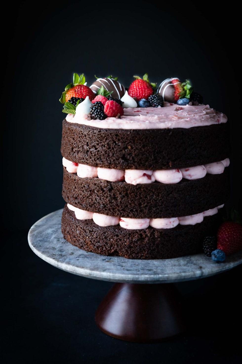 Chocolate Cake With Strawberry Buttercream Wyldflour