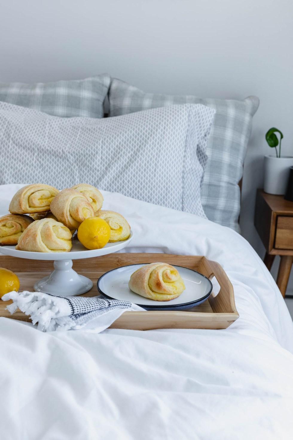Breakfast in bed with meyer lemon sweet rolls