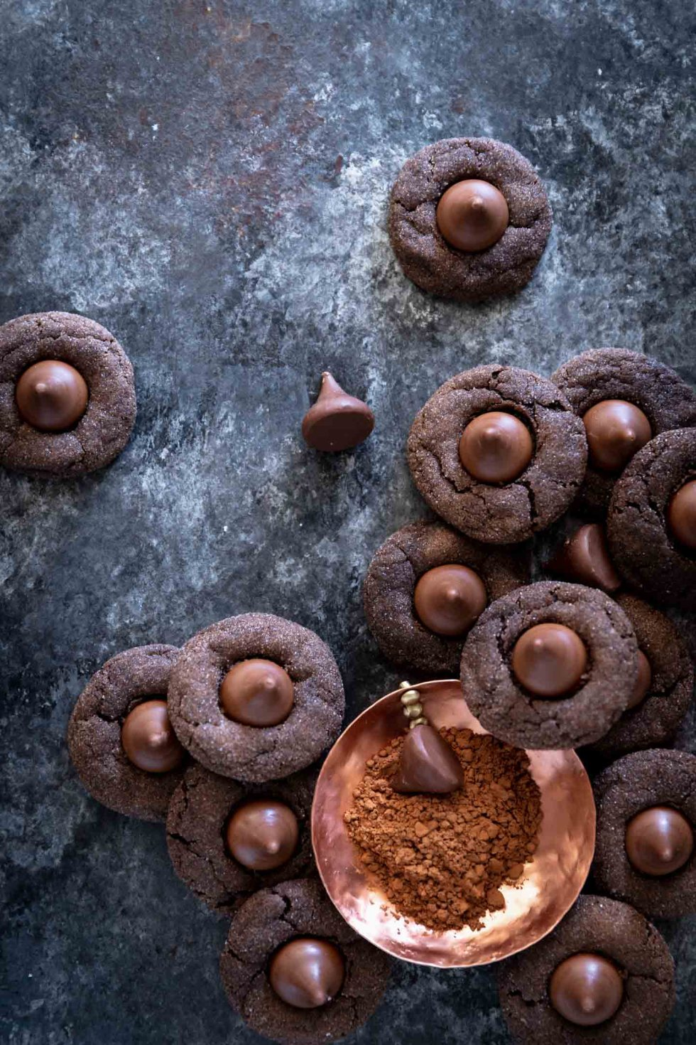 Overhead view of chocolate cookies topped with a caramel chocolate candy