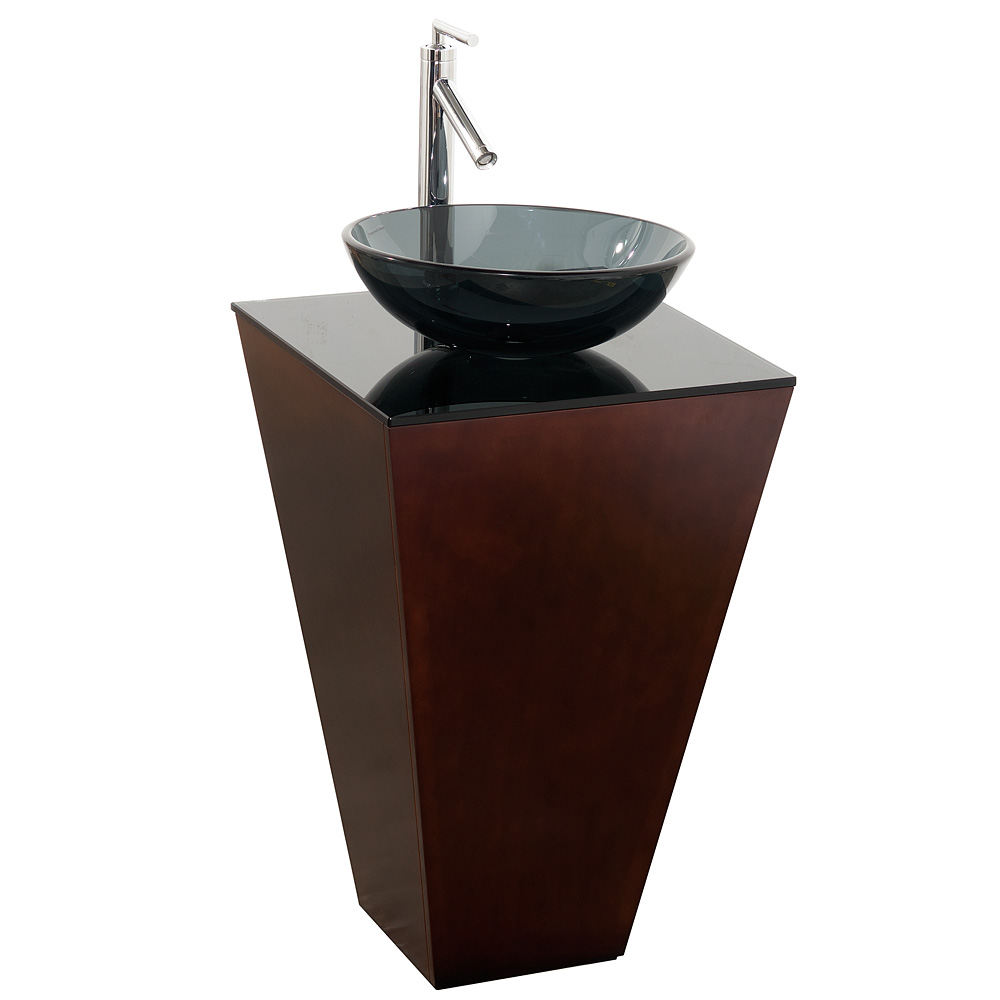 esprit bathroom pedestal vanity set espresso w smoke glass vessel sink