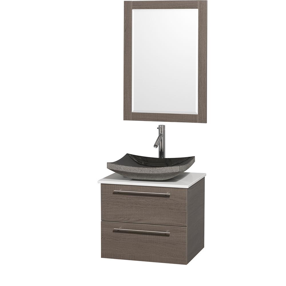 amare 24 wall mounted bathroom vanity set with vessel sink gray oak
