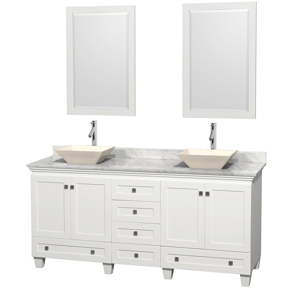 acclaim 72 double bathroom vanity for vessel sinks white