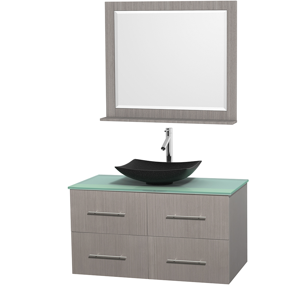 centra 42 single bathroom vanity for vessel sink gray oak