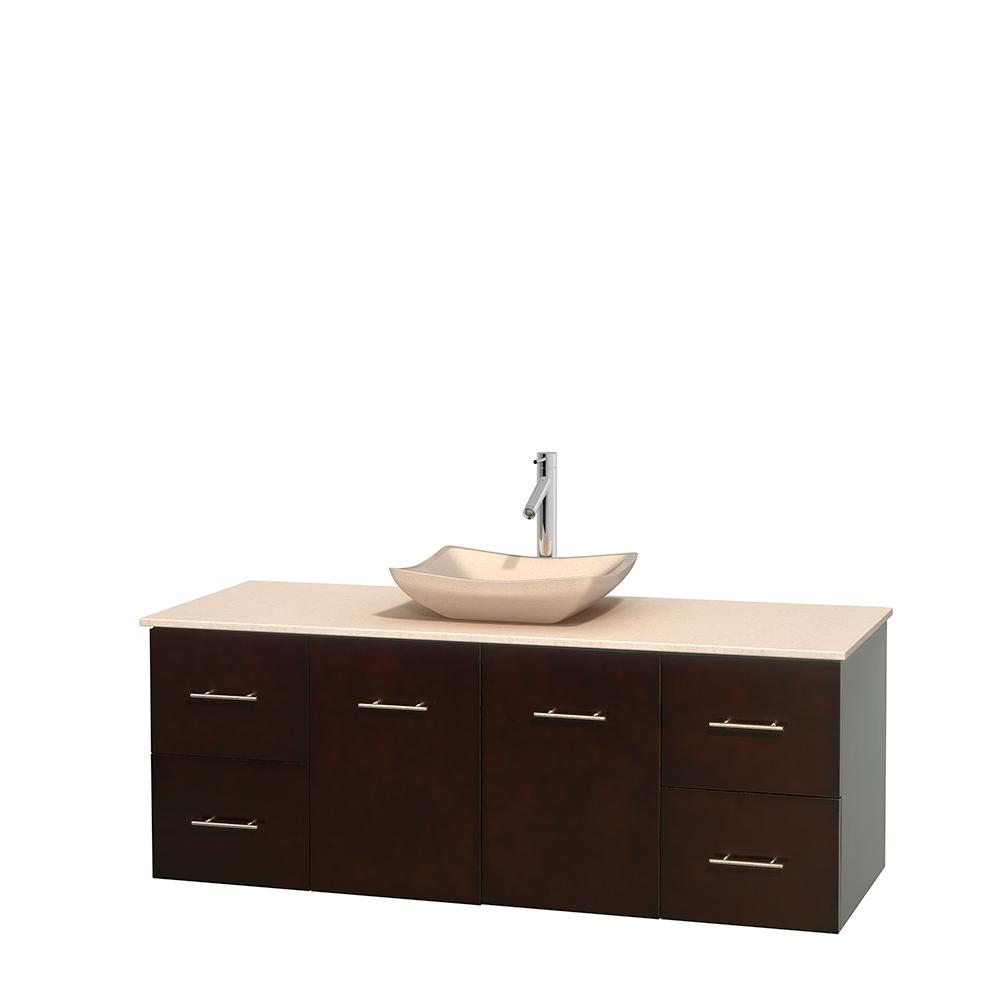 centra 60 single bathroom vanity for vessel sink espresso