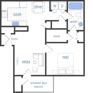 1 Bed / 1 Bath / 806 sq ft / Rent: Call for Pricing