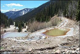 Waste from an abandoned mine outside Silverton, CO that has tainted local water sources.