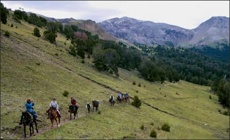 Meredith Taylor leads a day-ride through the Washakie Wilderness <br>Image courtesy of the Taylors
