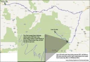 Mine waste haul route
