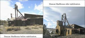Before and after photos of the Duncan Shafthouse restabilization