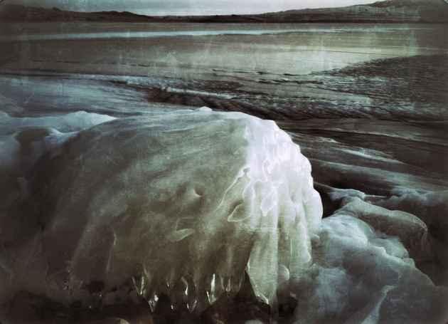 Ice covers Buffalo Bill Reservoir near Cody, Wyoming