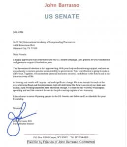 A letter from Sen. John Barrasso to members of the International Academy of Compounding Pharmacists