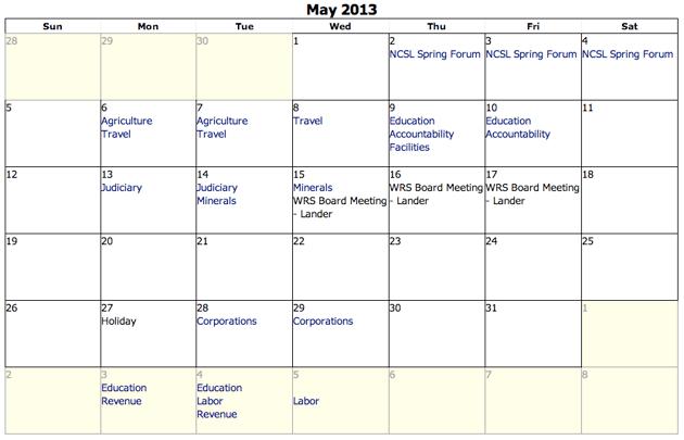 Interim committee activities begin in May.