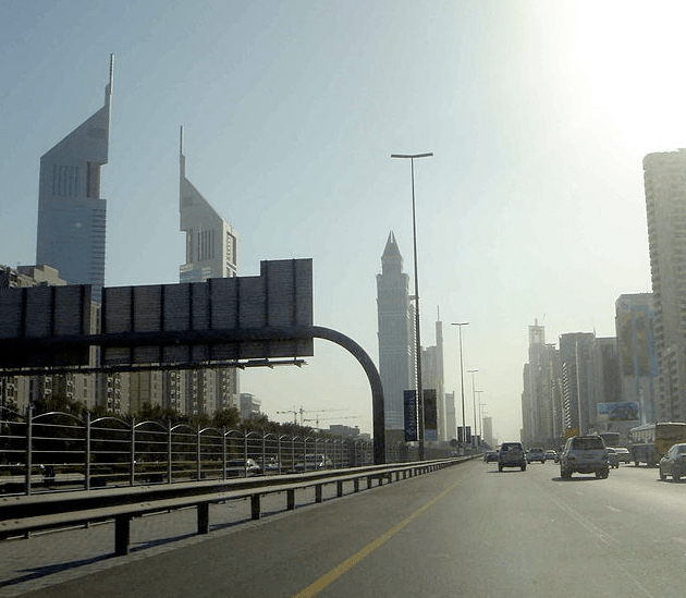 Zayed Road in Dubai. Wyoming Governor Matt Mead recently traveled to Dubai to promote University of Wyoming professor Dr. Mohammad Piri's research into unconventional oil. (Wikimedia Commons/Saudi from Saudi Arabia)