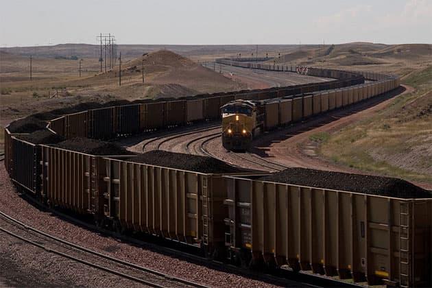 Giant coal trains near North Antelope Rochelle Mine.