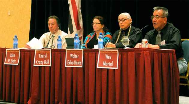 Native leaders from near and far. John St. Clair, chief judge in tribal court on the Wind River Indian Reservation, Cheryl Crazy Bull. (Ron Feemster/WyoFile — click to view)